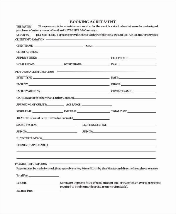 Free Dj Contract Template Elegant Sample Dj Contract 14 Examples In Word Pdf Google