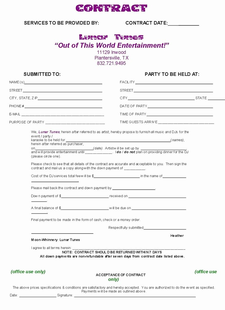 Free Dj Contract Template Fresh Dj Contract Template