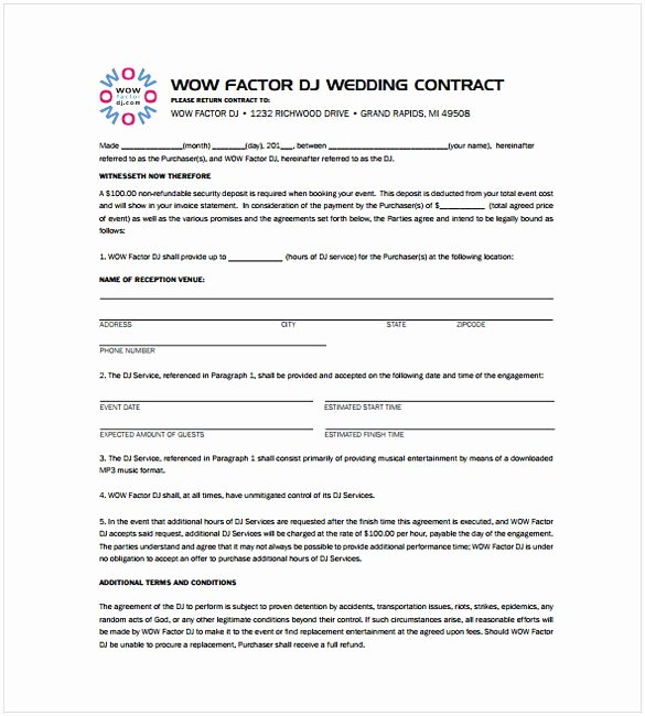 Free Dj Contract Template New Dj Contract