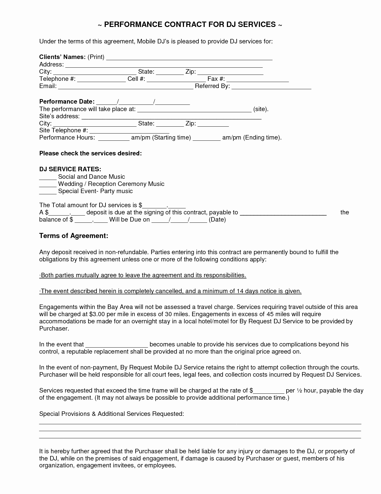 Free Dj Contract Template New Mobile Dj Contract
