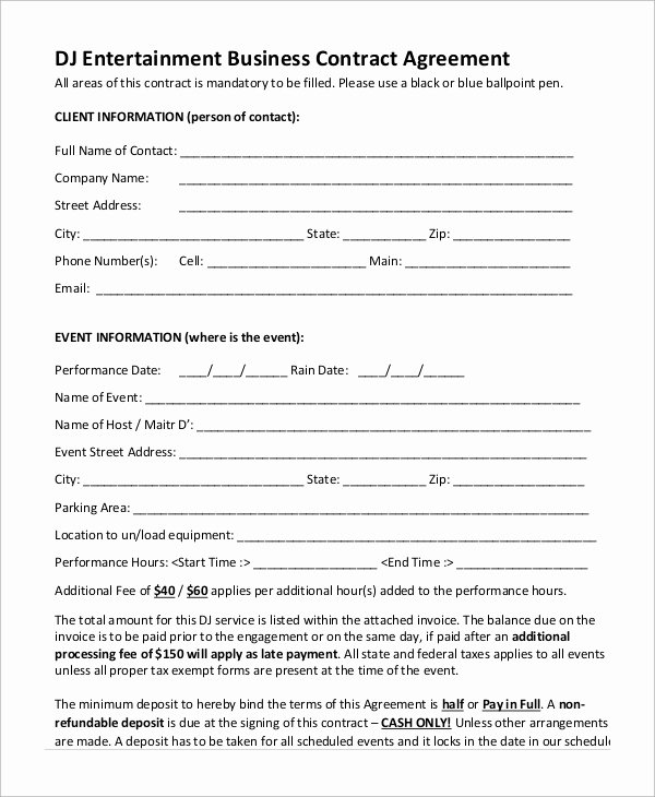 Free Dj Contract Template New Sample Dj Contract 14 Examples In Word Pdf Google
