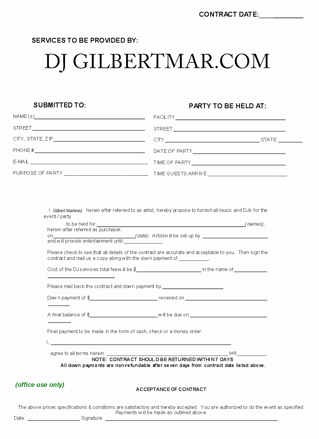 Free Dj Contract Template New Sample Dj Contract Agreement Free Printable Documents
