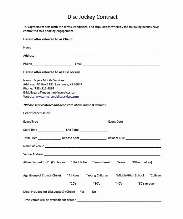 Free Dj Contract Template Unique Dj Contract 12 Download Documents In Pdf