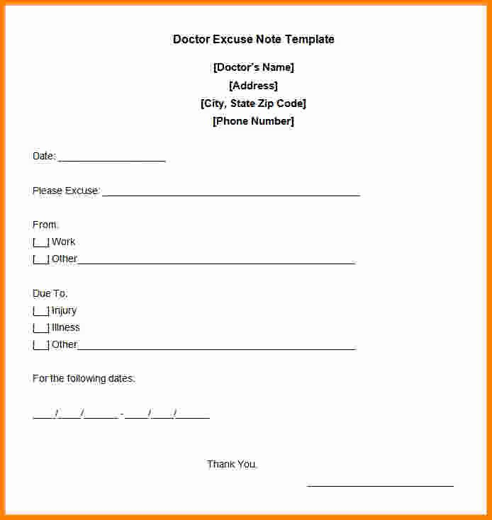 Free Doctor Excuse Template Luxury 9 Free Printable Doctors Note for Work