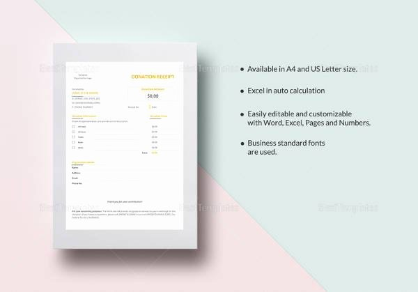 Free Donation Receipt Template Best Of Free 20 Donation Receipt Templates In Pdf