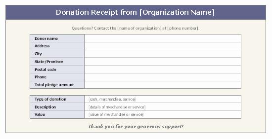 Free Donation Receipt Template Fresh Donation Receipt