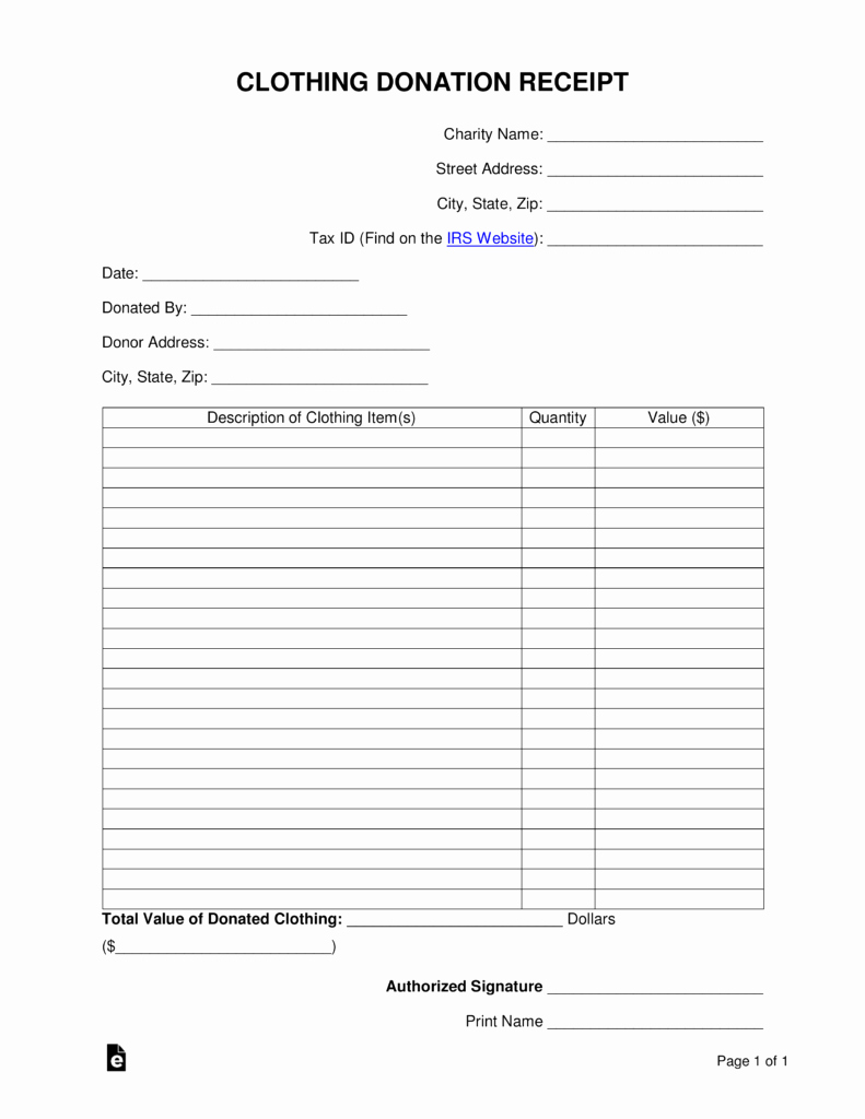 Free Donation Receipt Template Lovely Free Clothing Donation Receipt Word Pdf