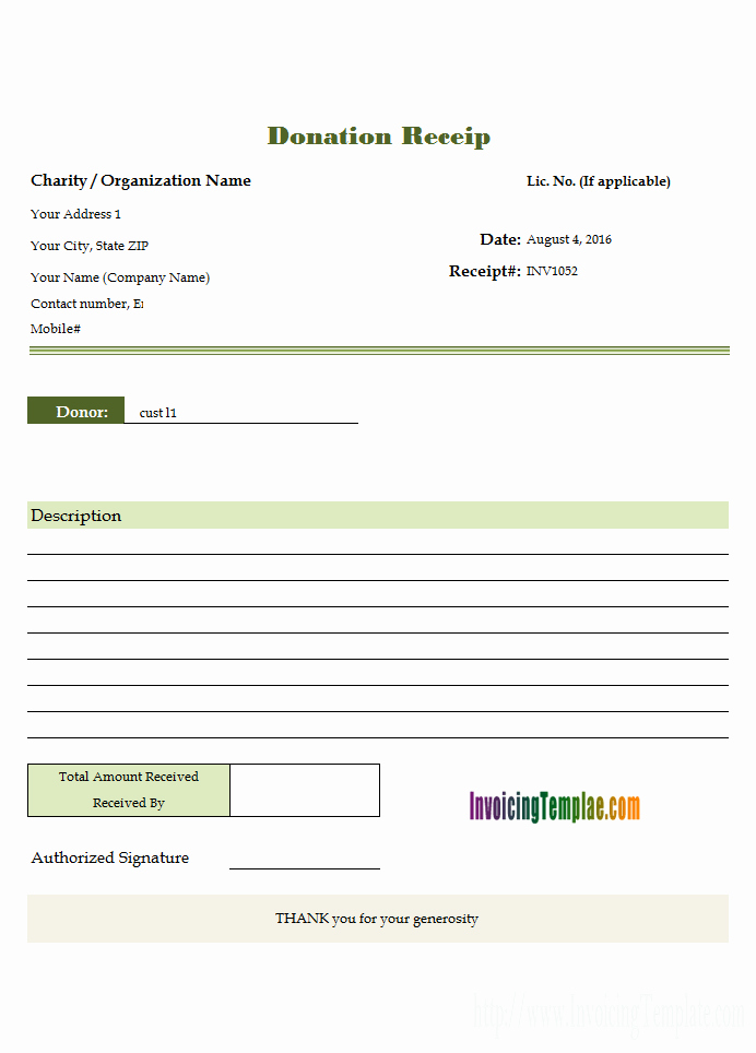 Free Donation Receipt Template Luxury Donation Receipt Template for Excel