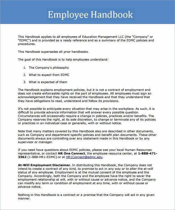 Free Employee Handbook Template Beautiful Sample Employee Handbook 9 Documents In Pdf
