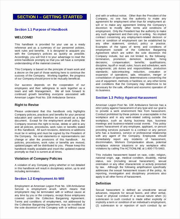 Free Employee Handbook Template Elegant Employee Handbook Template 12 Free Sample Example