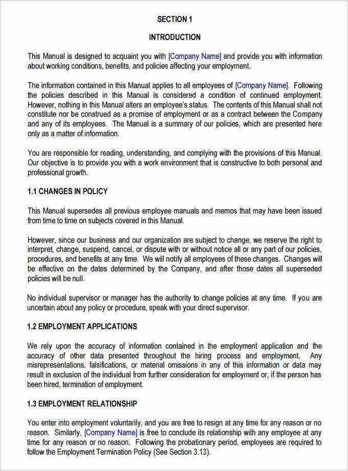 Free Employee Handbook Template Elegant Employee Manual Template