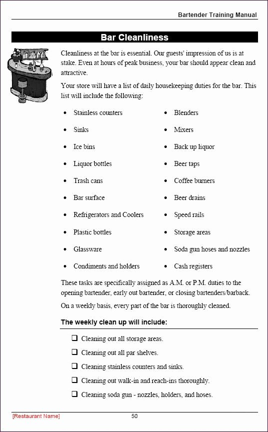 Free Employee Handbook Template Elegant Restaurant Employee Training Manual Sample Page