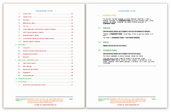 Free Employee Handbook Template Fresh Employee Handbook Template