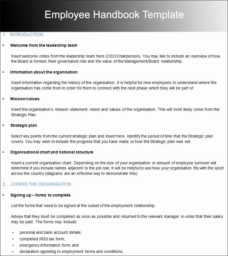 Free Employee Handbook Template Fresh Free Employee Handbook Template for Small Business