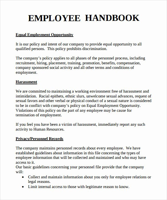Free Employee Handbook Template Fresh Sample Employee Handbook 9 Documents In Pdf