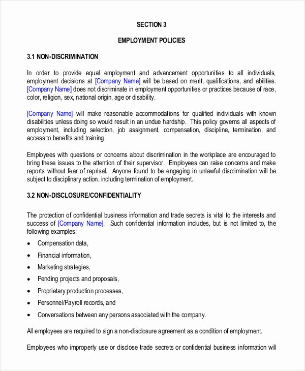 Free Employee Handbook Template Inspirational Employee Handbook Template 12 Free Sample Example