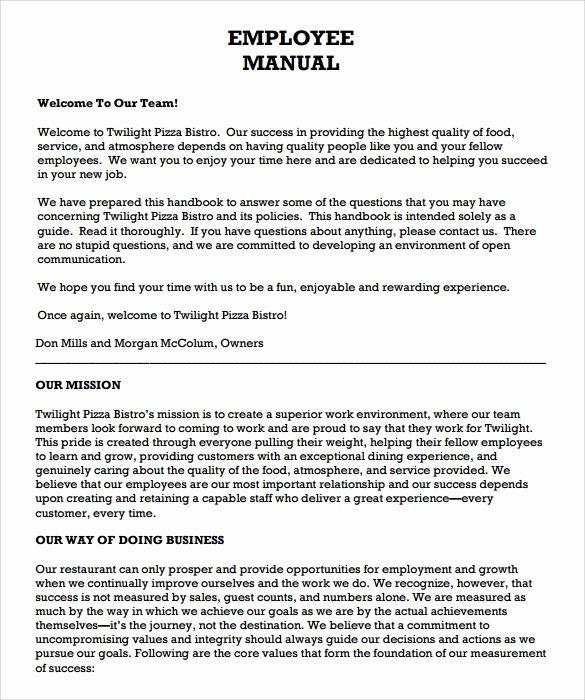 Free Employee Handbook Template Lovely Employee Handbook Template