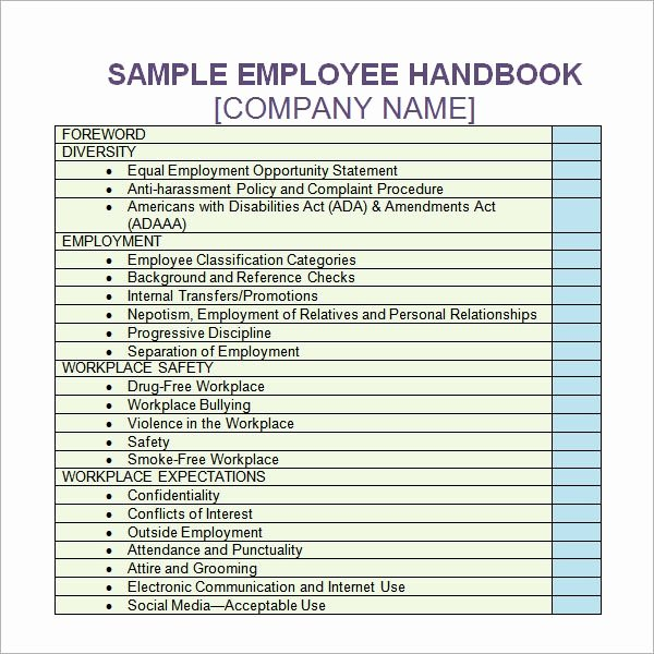Free Employee Handbook Template Lovely Free 5 Sample Printable Employee Handbook Templates In