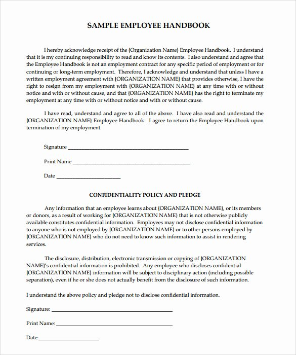 Free Employee Handbook Template New Sample Employee Handbook 9 Documents In Pdf