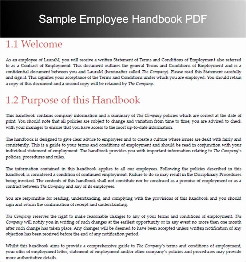 Free Employee Handbook Template Pdf Awesome 10 Employee Handbook Templates Free Word Pdf Doc Samples