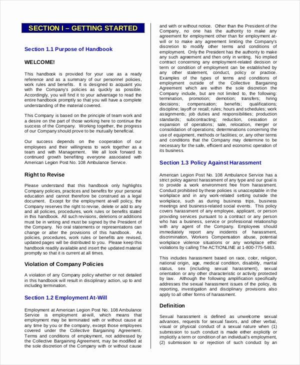 Free Employee Handbook Template Pdf Awesome Employee Handbook Template – 12 Free Sample Example