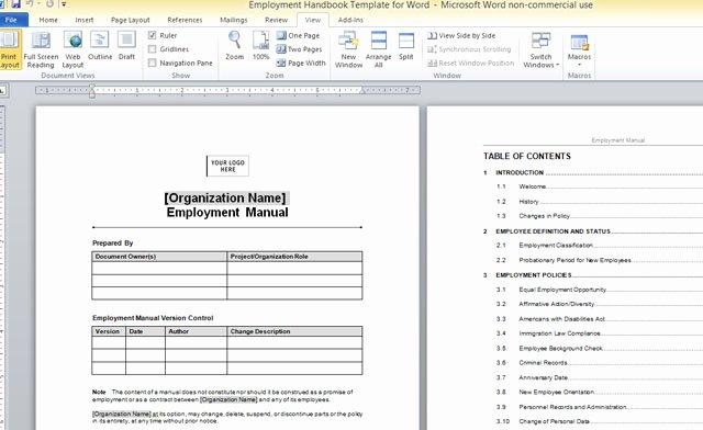Free Employee Handbook Template Pdf Beautiful Employment Handbook Template for Word