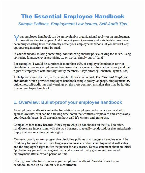 Free Employee Handbook Template Pdf Best Of Sample Employee Handbook 9 Documents In Pdf