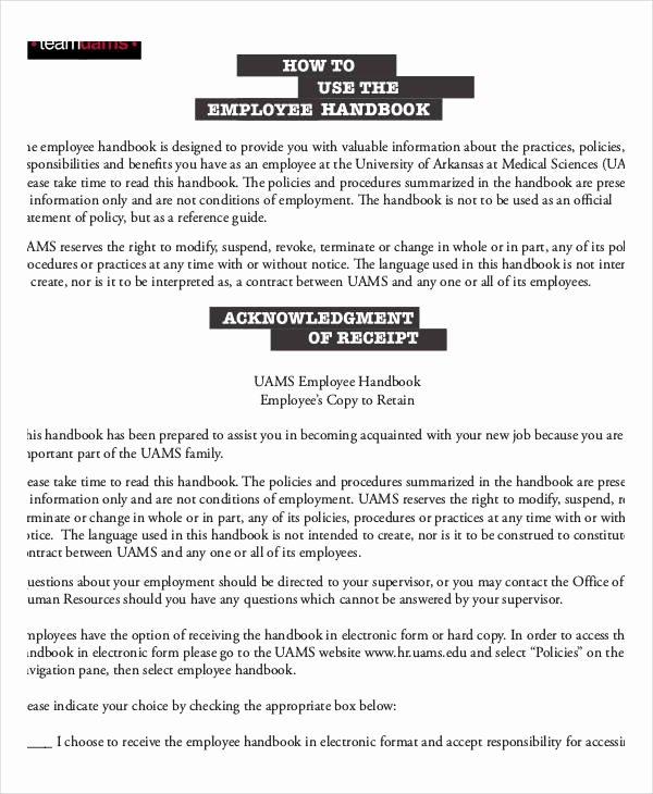 Free Employee Handbook Template Pdf Elegant Employee Handbook Sample 9 Free Pdf Documents Download