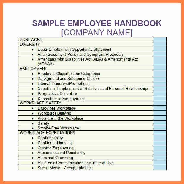 Free Employee Handbook Template Pdf Inspirational 6 Pany Handbook Template