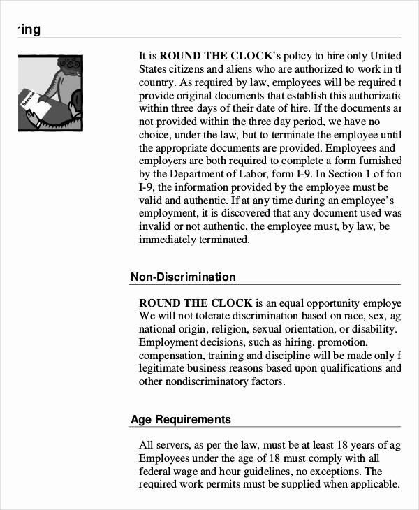 Free Employee Handbook Template Pdf Lovely Employee Handbook Sample 9 Free Pdf Documents Download
