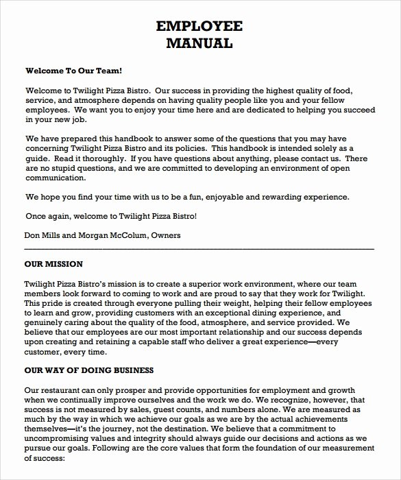 Free Employee Handbook Template Pdf Luxury Employee Handbook Template