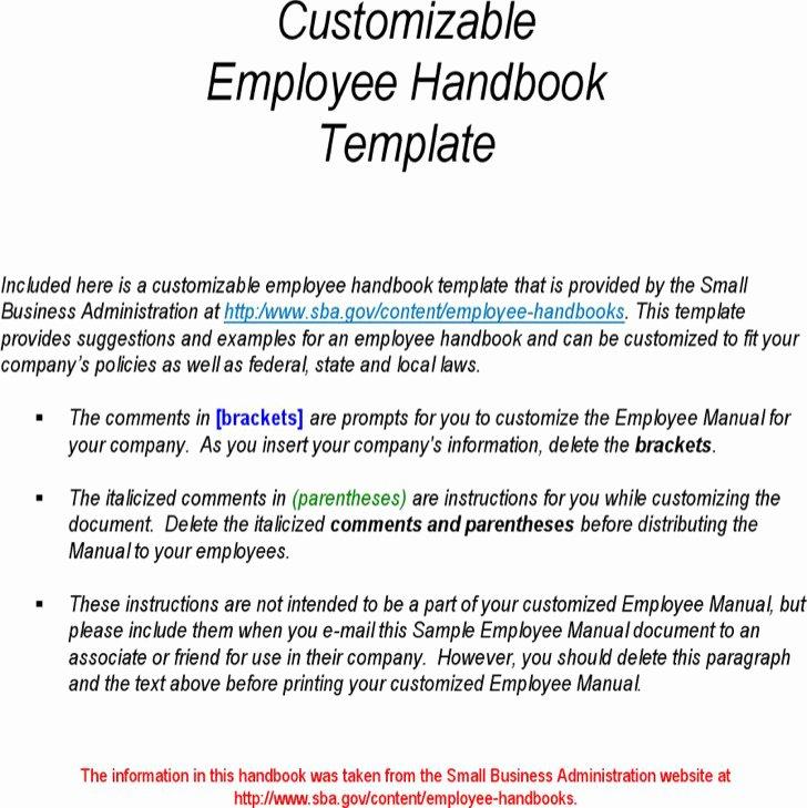 Free Employee Handbook Template Pdf Unique Sample Employee Handbook & Manual Templates