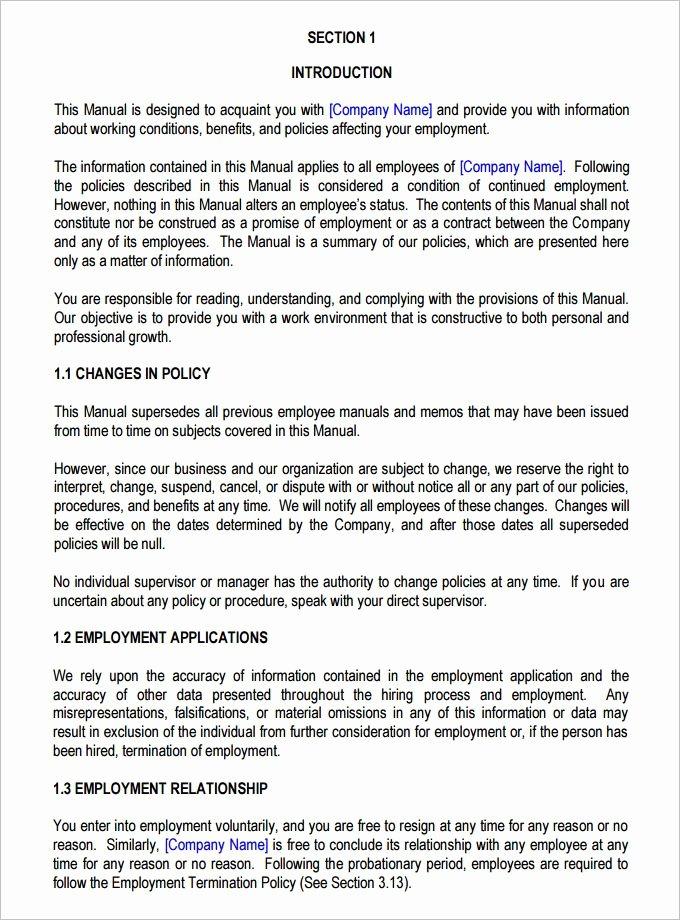 Free Employee Handbook Template Unique 13 Employee Handbook Templates