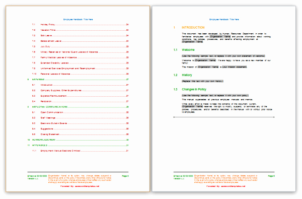 Free Employee Handbook Template Word Awesome Employee Handbook Template