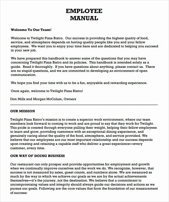 Free Employee Handbook Template Word Awesome Free Employee Handbook Template
