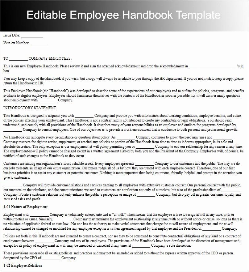 Free Employee Handbook Template Word Elegant 10 Employee Handbook Templates Free Word Pdf Doc Samples