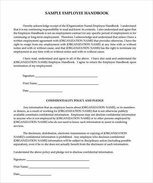 Free Employee Handbook Template Word Unique Employee Handbook Sample 7 Download Documents In Pdf Word