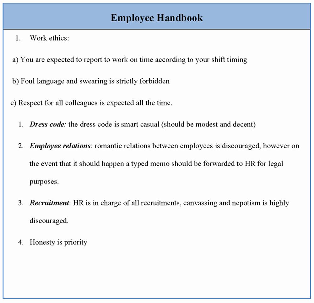 Free Employee Handbook Template Word Unique Employee Template for Handbook Sample Of Employee