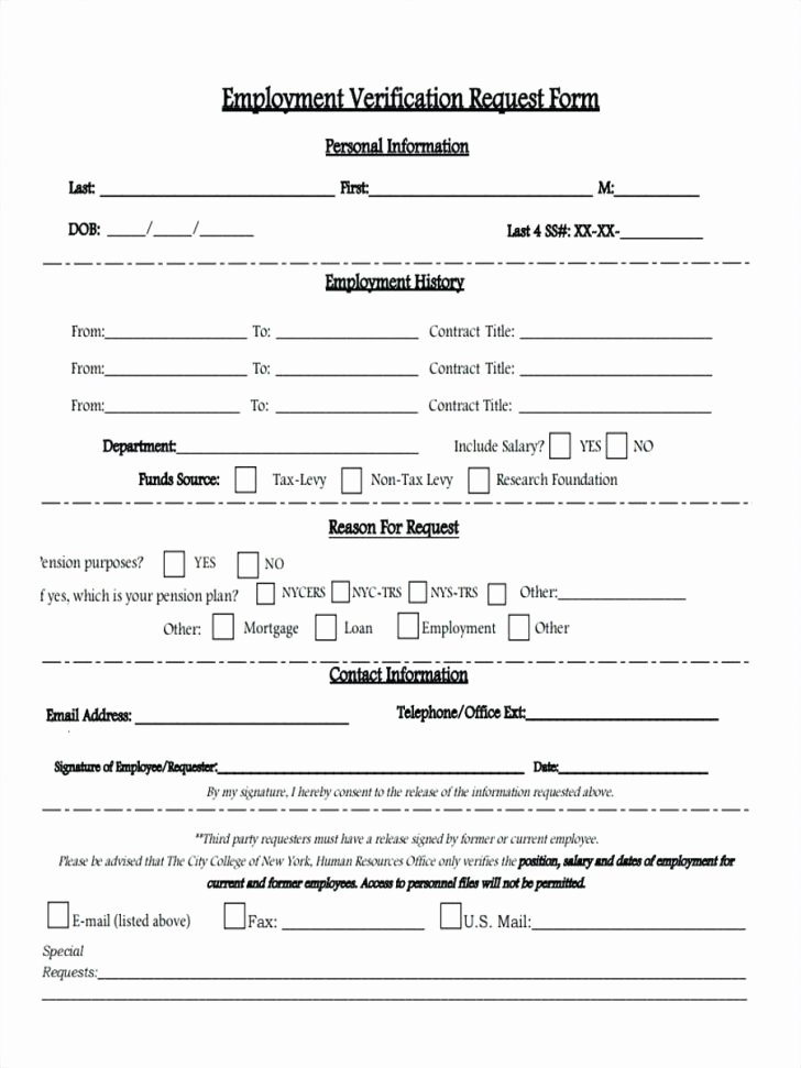 Free Employee Verification form Template Beautiful Work Experience form