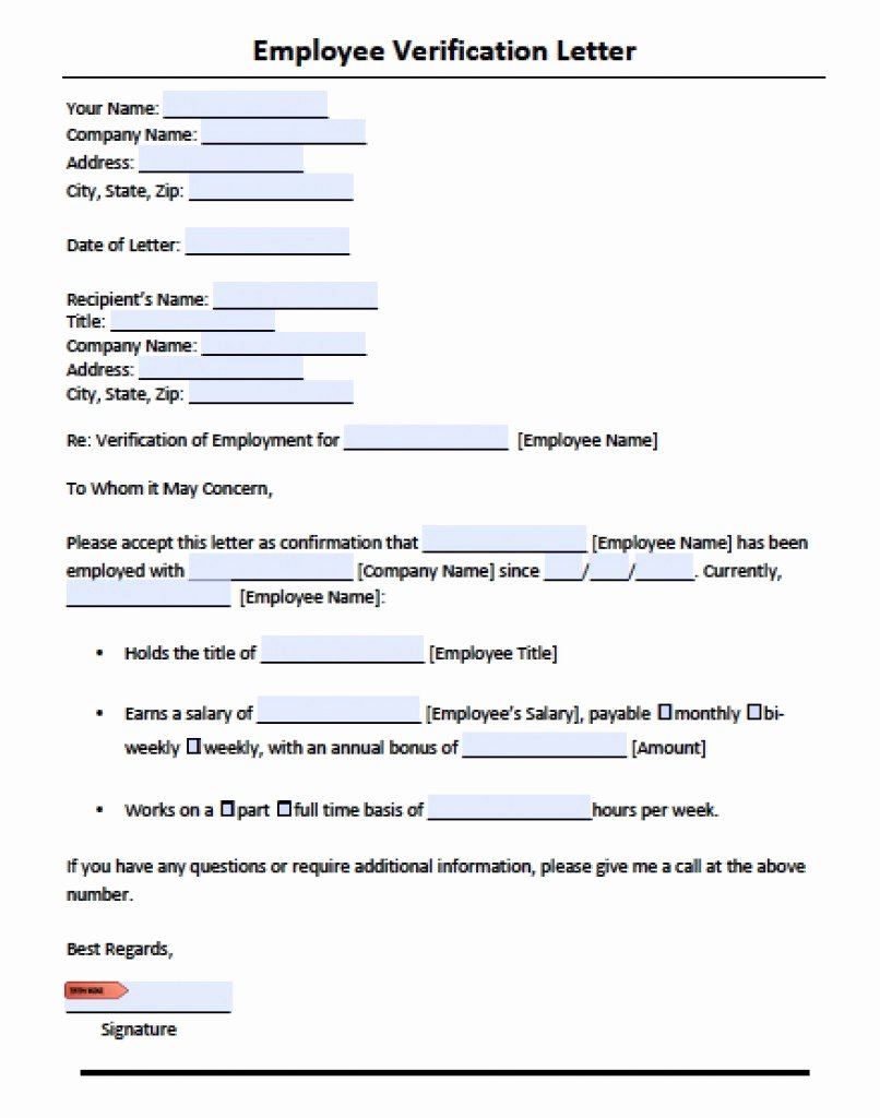 Free Employee Verification form Template Elegant Download Employment Verification Letter Template with