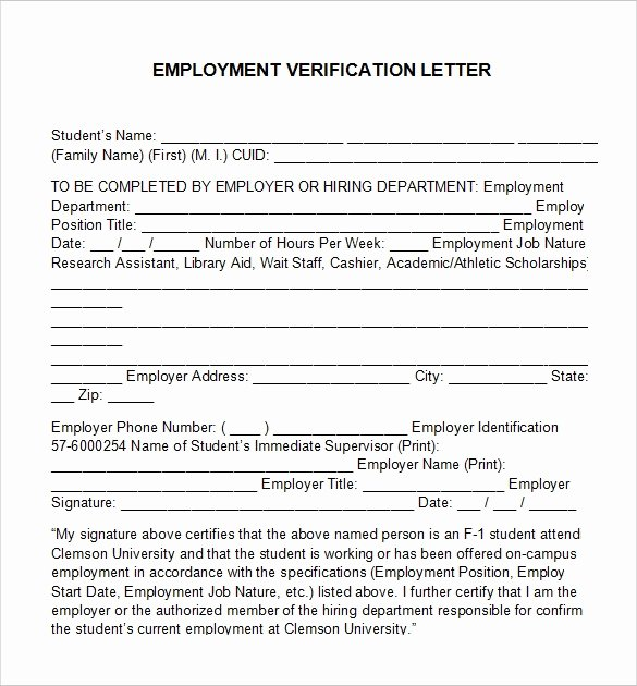 Free Employee Verification form Template Elegant Employment Verification Letter 14 Download Free
