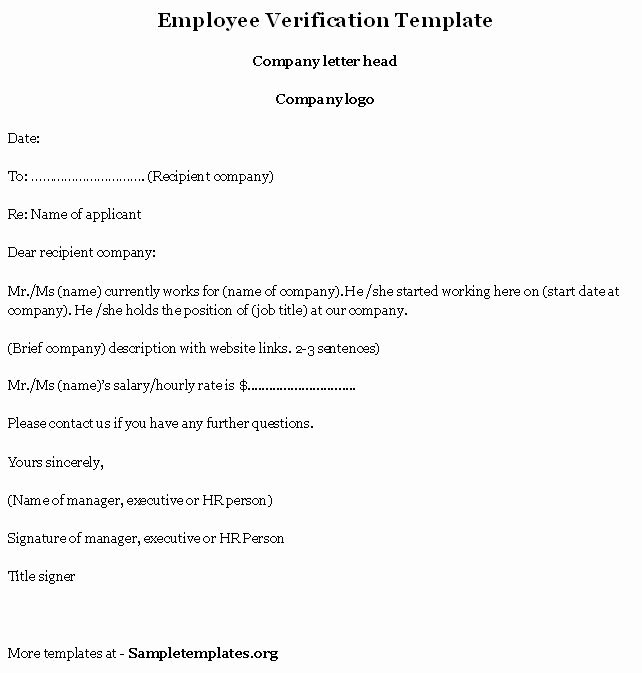 Free Employee Verification form Template Inspirational Employment Verification Letter Template