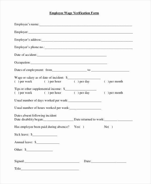 Free Employee Verification form Template Inspirational Free 9 Sample Wage Verification forms