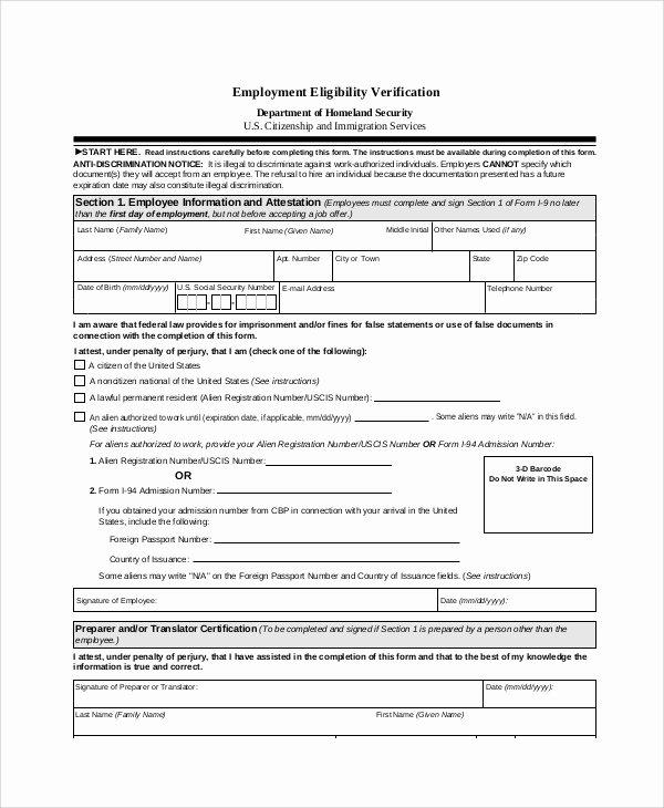 Free Employee Verification form Template Luxury Sample Employment Verification form 6 Documents In Pdf