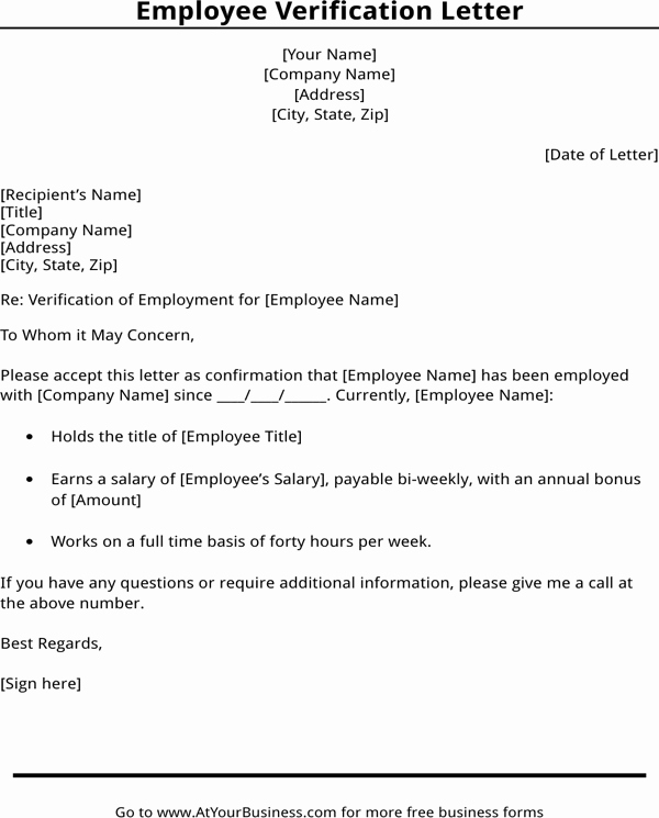 Free Employee Verification form Template New Download Employment Verification Letter Template for Free