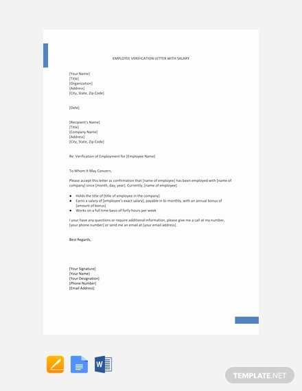 Free Employee Verification form Template Unique Free Employment Verification Letter with Salary Template