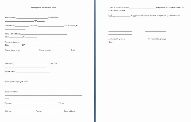 Free Employment Verification form Template Awesome Employment Verification form