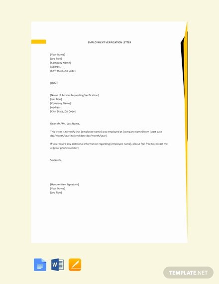 Free Employment Verification form Template Beautiful Free Employment Verification Letter Template Word