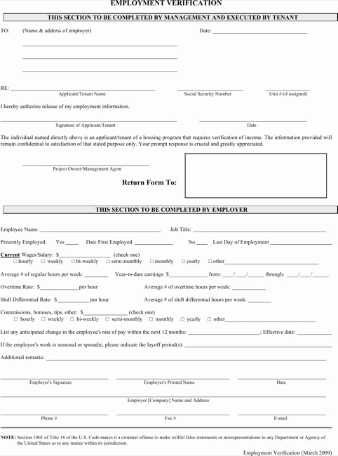 Free Employment Verification form Template Elegant Employment Verification form