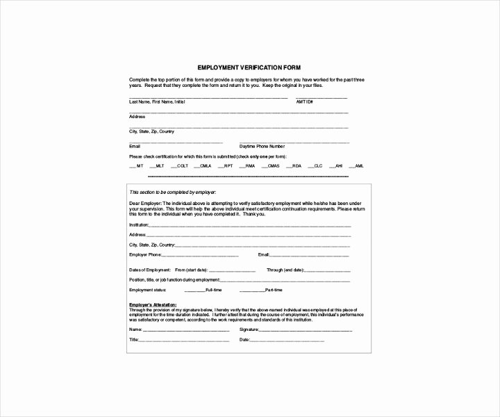 Free Employment Verification form Template Inspirational 9 Employment Verification forms Free Pdf Doc format